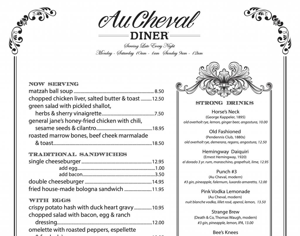 Au Cheval Diner Menu