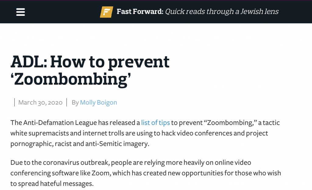 ADL: How to prevent 'Zoombombing'
