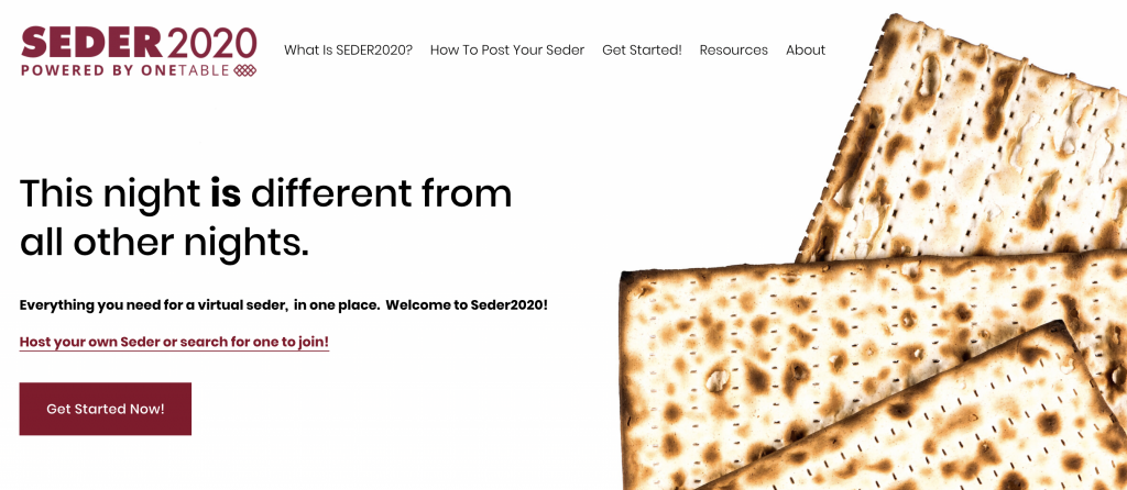 seder 2020 onetable chitribe