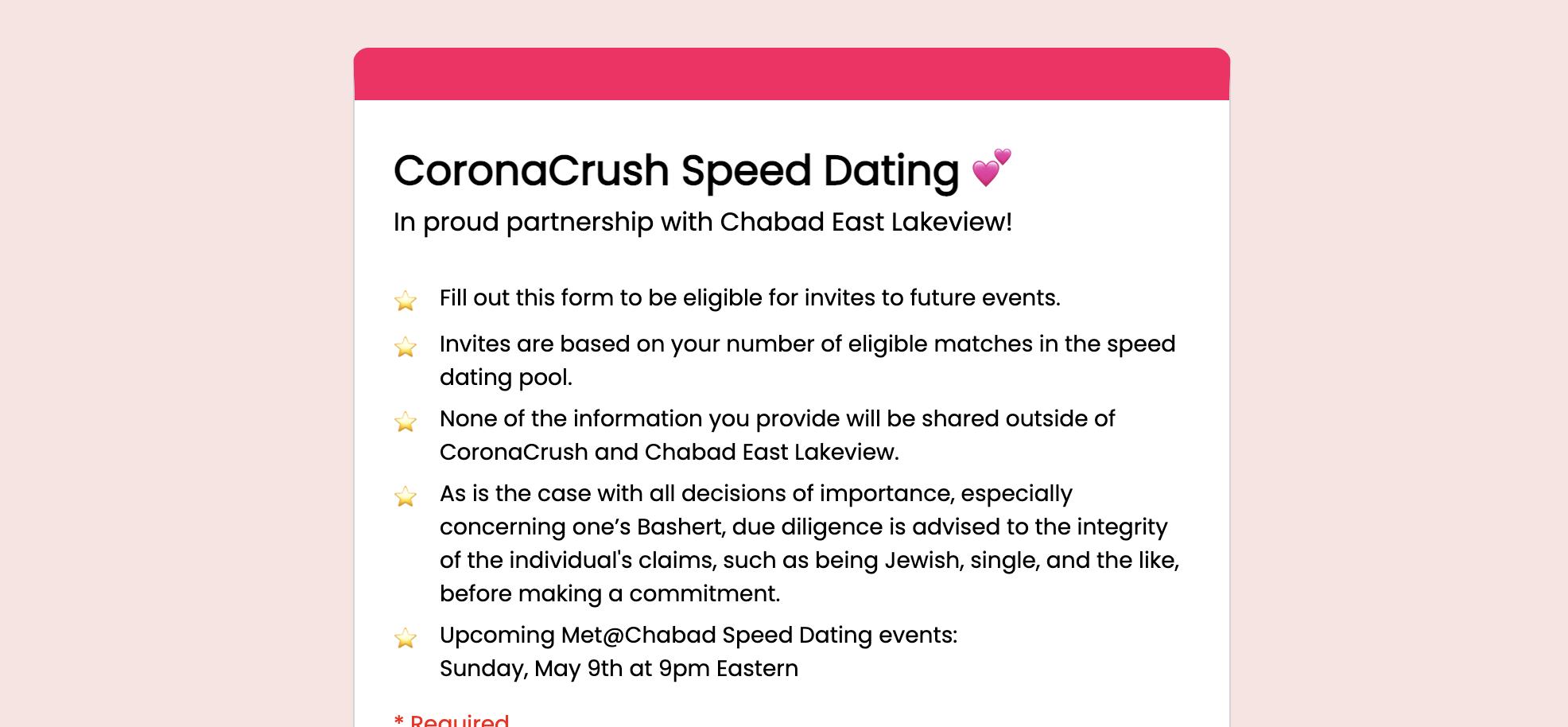 CoronaCrush Speed Dating 💕 chitribe